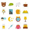 sleep icons set in flat style vector image