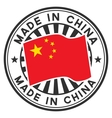 Stamp with flag of China Lettering Made in China vector image vector image