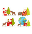 santa claus and big reindeer on white background