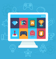online and mobile game icons vector image vector image