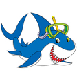 great white shark diver vector image vector image