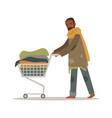 homeless black man character pushing shopping cart vector image