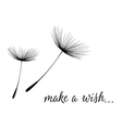 Make a wish card with dandelion fluff vector image
