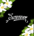 summer border with frangipani flowers and green vector image