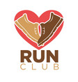 run club heart and sport sneakers shoes
