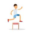 active boy jumping hurdle cartoon character kids vector image