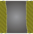 Metallic background with warning stripes vector image