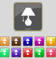 table lamp icon sign Set with eleven colored vector image