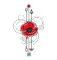 Abstract Watercolor Poppy Tattoo vector image