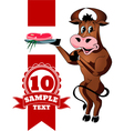 Cartoon cheerful bull with steak vector image