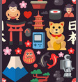 Japan seamless icon background vector image