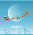 merry christmas santa claus drives sleigh on sky vector image