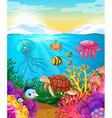 Sea animals swimming under the ocean vector image