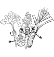 cartoon soup vegetables for coloring book vector image