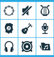 audio icons set collection of mike silence lyre vector image