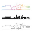 ponta delgada skyline linear style with rainbow vector image