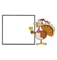 Christmas turkey cartoon vector image