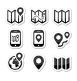 Map travel icons set vector image vector image