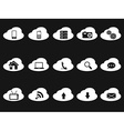 cloud icons on black background vector image