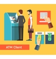 ATM machine money deposit and withdrawal vector image
