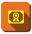 Certification Diploma Longshadow Icon vector image