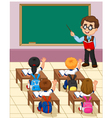 cartoon little kid a study in the classroom vector image