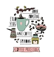 Coffee making process Hand drawn vector image
