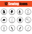 Set of twelve sewing icons vector image