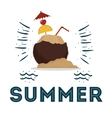 summer coconut cocktail poster design vector image
