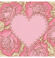Card with roses and heart frame vector image