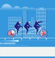 businessmen riding tandem vector image