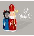 Cute Saint Nicholas with devil and lettering text vector image