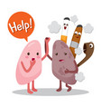 lungs sick from smoke cartoon character human vector image