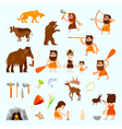 Stone Age Flat Icons Set vector image