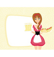 beautiful waitress with a tray with beers and vector image