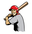 retro of baseball ready to hit the ball vector image vector image