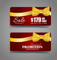 Holiday Gift Coupons with ribbons vector image