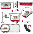 Glossy icons with Californian flag vector image