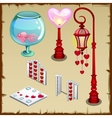 Fence lantern and other items in heart shape vector image