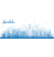 Outline Honolulu skyline with blue buildings vector image