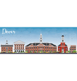 Dover Skyline with Color Buildings vector image