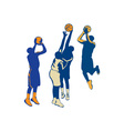 Basketball Player Shoot Ball Retro Collection vector image