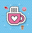 cute coffee cup love heart hot cartoon vector image