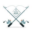 fishing rod with reel equipment concept vector image