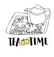 Graphic hand drawn tea set teapot and tea tray vector image