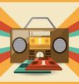 retro radio to listent station music vector image
