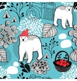 Seamless pattern with red berries and white bears vector image