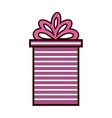 gift box present ribbon with stripes and bow vector image