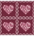 Vintage floral hearts pink red background vector image