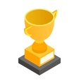 Golden trophy cup isometric 3d icon vector image